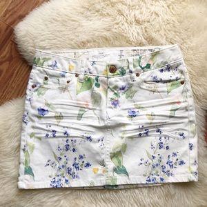 H&M Floral White Jean Skirt